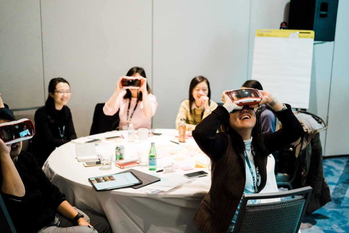 Participants use VR headsets