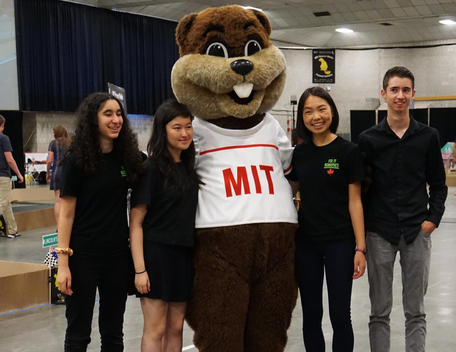 Students with MIT Beaver