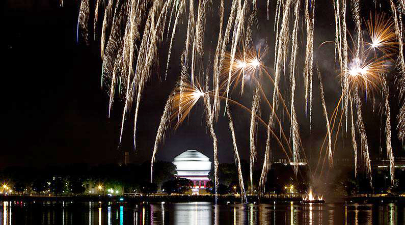 MIT dome and fireworks